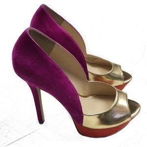 Enzo Angiolini | Purple peep toe heels pumps